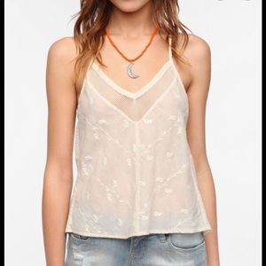 Staring at stars mesh inset embroidered cami tank